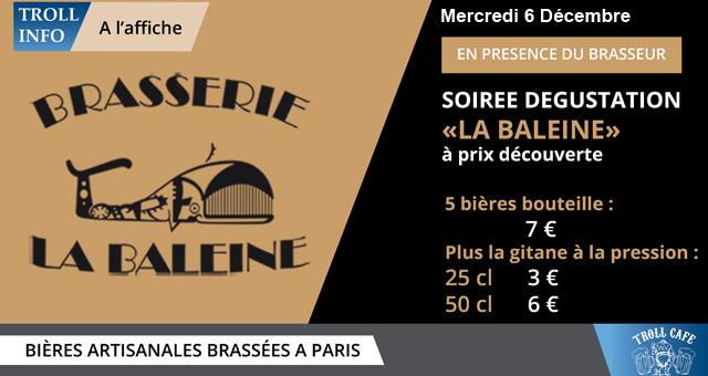SOIREE DEGUSTATION – «LA BALEINE» – Mercredi 6 décembre